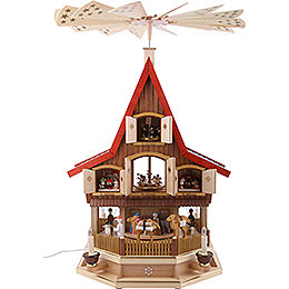 3 - Tier Adventhouse  -  Nativity Scene  -  77cm / 30 inch
