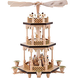 3 - Tier Pyramid  -  Nativity Scene  -  Natural Wood  -  38cm / 15 inch