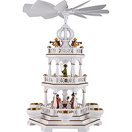 3 - Tier Pyramid  -  Nativity  -  White / Gold  -  44cm / 17.3 inch