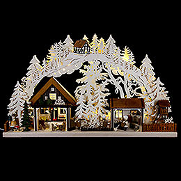3D Candle Arch  -  Christmas Bakery with Walki Figures  -  72x43cm / 28x17 inch