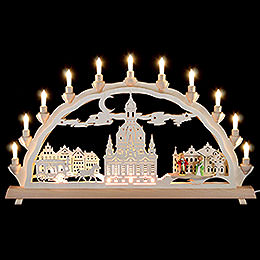 3D Double Arch  -  Dresden's Church of Our Lady with Carriage and Figures  -  68x35cm / 27x14 inch