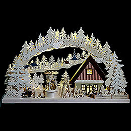 3D Double Arch  -  Workshop with Turning Christmas Pyramid  -  72x43x8cm / 28x17x3 inch