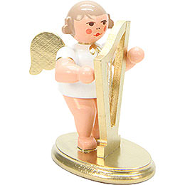 Angel White/Gold with Harp  -  6,0cm / 2 inch