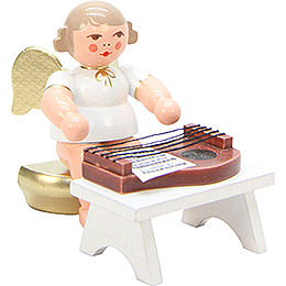 Angel White/Gold with Zither  -  6,0cm / 2 inch