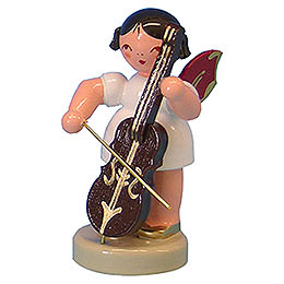 Angel with Cello  -  Red Wings  -  Standing  -  6cm / 2,3 inch