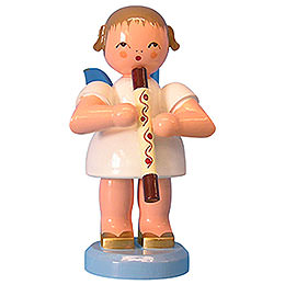 Angel with Didgeridoo  -  Blue Wings  -  Standing  -  9,5cm / 3,7 inch