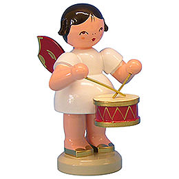 Angel with Drum  -  Red Wings  -  Standing  -  9,5cm / 3,7 inch