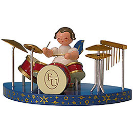 Angel with Drums Fitting Simple Clouds  -  Blue Wings  -  Standing  -  6cm / 2,3 inch