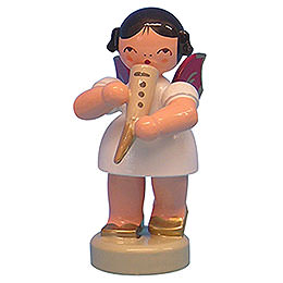 Angel with Gemshorn  -  Red Wings  -  Standing  -  6cm / 2,3 inch