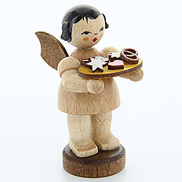 Angel with Gingerbread Plate  -  Natural Colors  -  Standing  -  6cm / 2.4 inch
