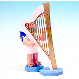 Angel with Harp  -  Blue Wings  -  Standing  -  9,5cm / 3.7 inch