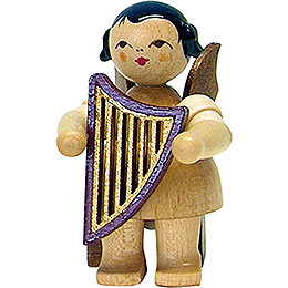 Angel with Lyre  -  Natural  -  Sitting  -  5cm / 2 inch