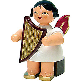 Angel with Lyre  -  Red Wings  -  Sitting  -  5cm / 2 inch