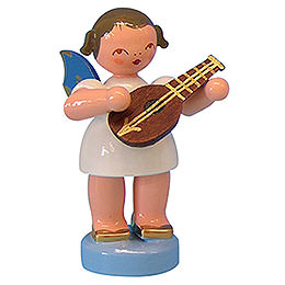 Angel with Mandolin  -  Blue Wings  -  Standing  -  6cm / 2,3 inch