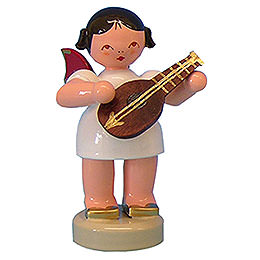 Angel with Mandolin  -  Red Wings  -  Standing  -  6cm / 2,3 inch