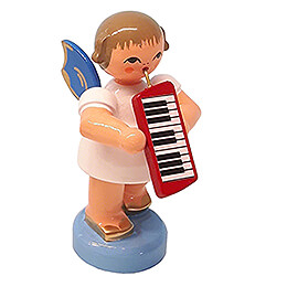 Angel with Melodica  -  Blue Wings  -  Standing  -  6cm / 2.4 inch