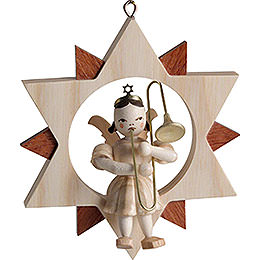 Angel with Slide Trombone in Star, Natural  -  9cm / 3.5 inch