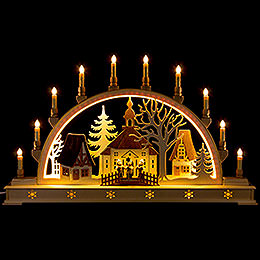 Candle Arch  -  Church with Carolers and LED Interior Lights  -  78x45cm / 30x17 inch