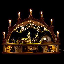Candle Arch  -  Forest House with Moving Figurines  -  68x50cm / 26.8x19.7 inch