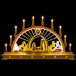 Candle Arch  -  Nativity with LED Interior Lights  -  78x45cm / 30x17 inch