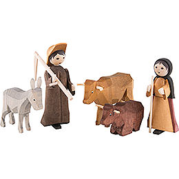 Farmers, Set of Five, Stained  -  7cm / 2.8 inch