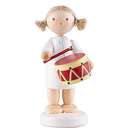 Flax Haired Angel with Drum  -  5cm / 2 inch