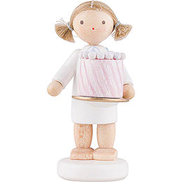 Flax Haired Angel with Feast Cake  -  5cm / 2 inch