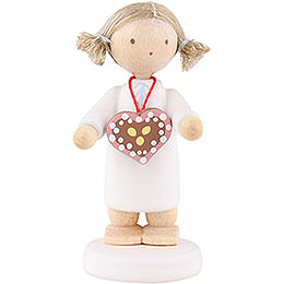 Flax Haired Angel with Ginger Bread Heart  -  5cm / 2 inch