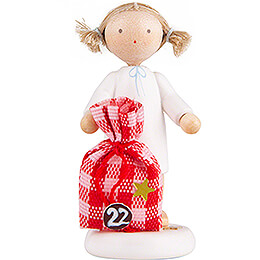 Flax Haired Angel with Little Sack (22)  -  5cm / 2 inch
