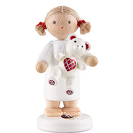 Flax Haired Angel with Teddy  -  5cm / 2 inch