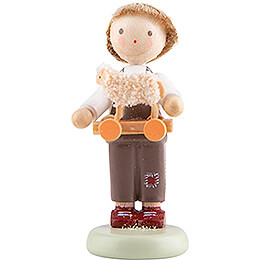 Flax Haired Children Boy with Toy Lamb  -  5cm / 2 inch