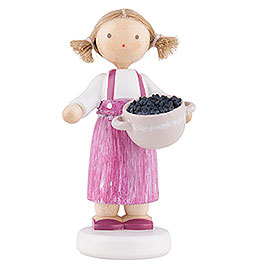Flax Haired Children Girl with Blackberries  -  5cm / 2 inch