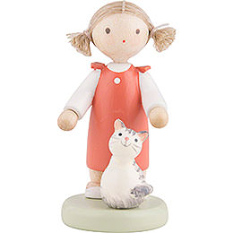 Flax Haired Children Girl with Kitten  -  5cm / 2 inch