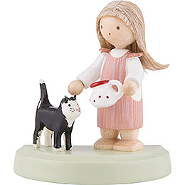 Flax Haired Children Little Girl with Black Cat  -  5cm / 2 inch