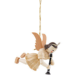 Floating Angel with Clarinet, Natural  -  6,6cm / 2.6 inch