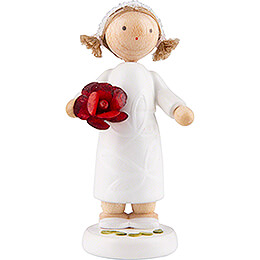 Flower Fairy Girl with Rose, Red  -  5cm / 2 inch