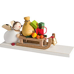 Guardian Angel with Present Sleigh  -  3,5cm / 2inch / 1.4 inch