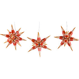 Hasslau Christmas Star Set of Three for Inside Use Red/White with Golden Pattern  -  16cm / 6.3 inch