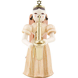 Long Pleated Skirt Angel with Saxophon, Natural  -  6,6cm / 2.6 inch