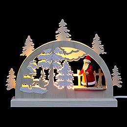 Mini Lightarch  -  Santa in Forest  -  23x15x4,5cm / 9x6x2 inch