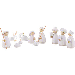 Nativity Set of 10 Pieces White/Natural  -  Small  -  8,0cm / 3.1 inch