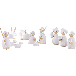 Nativity Set of 11 Pieces White/Natural  -  Small  -  7cm / 2.8 inch