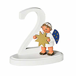 "Number ""2"" with Angel  -  7cm / 2.8 inch"
