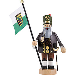 Smoker  -  Miner with Flag  -  20cm / 8 inch