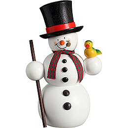 Smoker  -  Snowman with Bird   -  15cm / 5.9 inch
