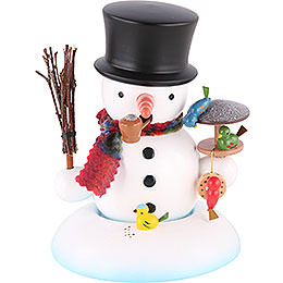 Smoker  -  Snowman with Bird House  -  15cm / 6 inch