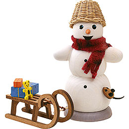 Smoker  -  Snowman with Sleigh and Mouse  -  13cm / 5.1 inch