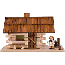 Smoking Hut  -  Forest Hut with Wood Worker and LED  -  10cm / 4 inch