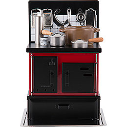 Smoking Stove  -  Kitchen Stove Red - Black  -  21cm / 8.3 inch
