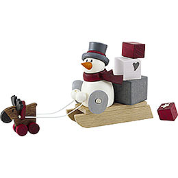 Snow Man Otto with Sleigh Filled with Presents  -  8cm / 3.1 inch